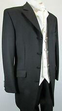 "BLACK PRINCE EDWARD EX HIRE LARGE 42"" CHEST WEDDING 3/4 TEDDY BOY DRAPE JACKET"