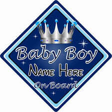 Personalised Child/Baby On Board Car Sign ~ Baby Boy On Board ~ D.Blue