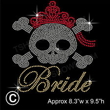 Bride with Skull Party Rhinestone/Diamante Transfer Hotfix Iron on + a Free Gift