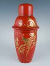 Antique Early 20c Meiji Japanese Gilded Rooster Red Lacquerware Martini Shaker
