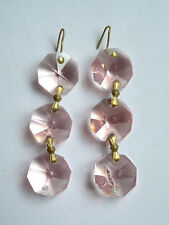 "UNUSUAL 1920s/30s CHANDELIER  PINK GLASS EARRINGS 2"" (5cm)"