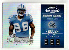 2002 Playoff Contenders KALIMBA EDWARDS Rookie CHAMPIONSHIP TICKET /50 Lions 143