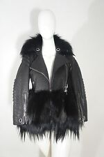 NEW Authentic Alexander McQueen Black Leather Fur Moto Biker Jacket SIZE 38