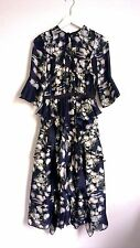 H&M Conscious Exclusive 2017 Dark Blue Floral Patterned Silk Dress UK6 EU32
