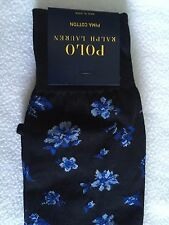 Polo Ralph Lauren Socks~Navy Blue w Floral Print Allover~Cotton Blend~NWT