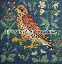 EHRMAN FALCON MEDIEVAL COMPLETED TAPESTRY NEEDLEPOINT PANEL by CANDACE BAHOUTH