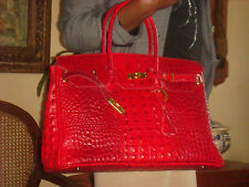 SAC ITALIE XL COUTURE CUIR FACON CROCO RELIEF LOOK KELLY NEUF ETIQ ROUGE 10FOTO