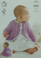 KNITTING PATTERN Baby Long Sleeve Cable Coat with Contrast Edge Aran KC 4136