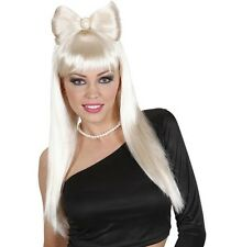 Ladies Long Straight Blonde Wig Fringe Bangs Bow Glam Rock Sexy Hen Fancy Dress