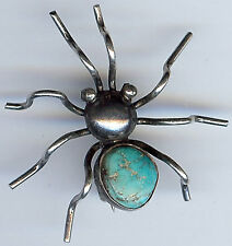 VINTAGE NAVAJO INDIAN SILVER & TURQUOISE 3D SPIDER PIN