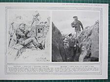1915 WWI WW1 PRINT ~ GERMAN WITH A PICKELHAUBE-D TURNIP-HEAD ~ FIRE-DRAWING