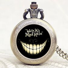 Vintage Alice in Wonderland Cat Smile Quartz Pocket Watch Necklace Xmas Gift