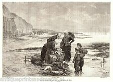 Antique print Dieppe France 1883 ladies fishing fish basket