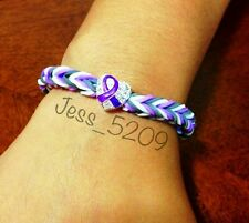 PURPLE Domestic Violence Awareness Ribbon Rainbow Loom Glow Stretch Bracelet