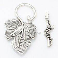 Hot 10sets silver grape leaf toggle clasp for DIY Jewelry Making Findings