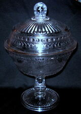 """Antique EAPG Lidded Compote Adams & Co. 1880's Good Luck Prayer - 12"""""""