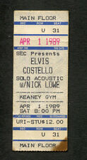 1989 Elvis Costello Nick Lowe Concert Ticket Keaney Gym Kingston Rhode Island