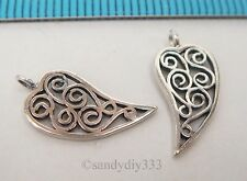 2x OXIDIZED STERLING SILVER DANGLE LEAF CHARM PENDANT 14.5mm #2329