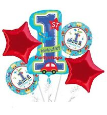 ALL ABOARD 1ST BIRTHDAY PARTY BALLOONS BOUQUET SUPPLIES DECORATIONS CARS TRUCKS