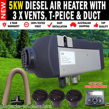 5KW 24Volt Diesel Air Heater with 3 x Vents, T-Peice and Duct For Caravan etc