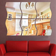 6x Sticker Mural Miroir DIY 3D Vague Moderne Autocollant Amovible Déco Maison NF
