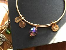 RARE ALEX and ANI LAVENDER Pink OONA Drop Charm BEADED BANGLE Gold BRACELET ��