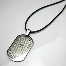 Lord's Prayer in Spanish Dog Tag Style Pendant Necklace With Corded Chain