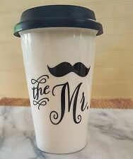 THE MISTER Insulated Travel Mug Ceramic Coffee Cup Silicone Lid MOUSTACHE mr.