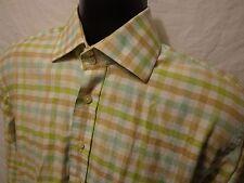Sette Ponti Mens Button Front GreenPlaid Long Sleeve Size S 100% Cotton