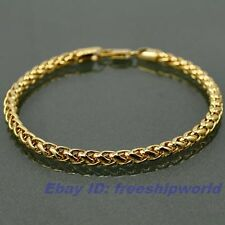 """8.3""""5mm14g REAL CUPID 18K YELLOW GOLD GP ROPE BRACELET SOLID FILL WHEAT CHAIN"""