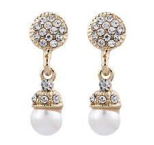 CLIP ON EARRINGS - gold plated drop pearl non pierced fashion earring - Bell G
