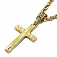 """Mens 14k Gold Plated Line Cross Pendant With 24"""" inches Rope Necklace Chain"""