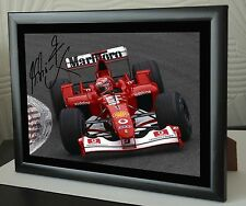 "Michael SCHUMACHER F1 SPA 2002 FERRARI encadrée toile signé print ""grand don"""