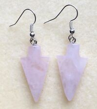 ROSE QUARTZ CRYSTAL ARROW HEAD DANGLE/DROP SILVER PLATED HOOK EARRINGS PINK