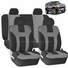 GRAY & BLACK DOUBLE STITCH SEAT COVERS 8PC SET for HUMMER H1 H2 H3