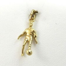 14K YELLOW GOLD 3D SOCCER PLAYER WITH SOCCER BALL FUTBOL CHARM PENDANT 1.4gr