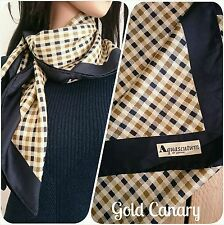 Vintage Aquascutum Navy Brown Club Check Heritage Large Silk Scarf 34""