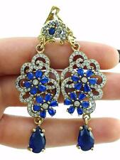 TURKISH 925 STERLING SILVER SAPPHIRE EARRINGS HANDMADE VICTORIAN JEWELRY R2514