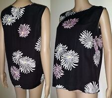 COUNTRY ROAD Size M Black Floral Silk Blend Sleeveless Blouse
