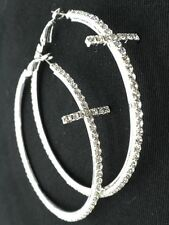 New Cross Crystal Hoop Earrings Silver Plated Crystal Women Pierced 3""
