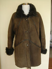 MUFLONE 100% GENUINE LAMB SHEARLING 3/4  BROWN COAT US SIZE 14 MADE IN ITALY