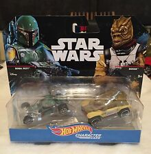 Hot Wheels Star Wars BOSSK & BOBA FETT Character Cars 2 Pack!!