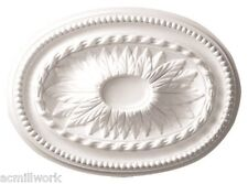 Ceiling Medallion Oval 18 x 13 Inch White Polyurethane for Light fixture D592