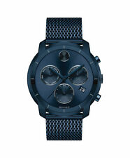 Movado Bold 3600403 Swiss Chronograph Watch 44mm Blue Mesh Stainless Steel