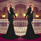 Sexy Long Sleeve Lace Mermaid Formal Wedding Prom Party Evening Gown Maxi Dress