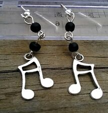Stunning Creative Stylish Sterling Silver Beaded Dangle Music Note Earrings