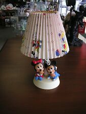 Mickey & Minnie Table Lamp Night Light with Shade  Walt Disney 1984 Working