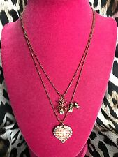 Betsey Johnson Vintage Picnic Pink & White Checkered Lucite Heart Ant Necklace
