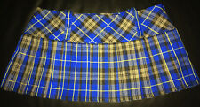 "Tartan Micro Mini 9.5"" length Kilt Skirt Blue & Black Schoolgirl - BNWT Size 14"
