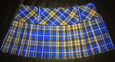 "Tartan Micro Mini 9.5"" length Kilt Skirt Blue & Black Schoolgirl - BNWT Size 12"